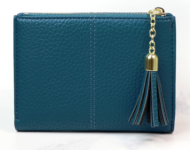 Faux leather compact purse in teal blue