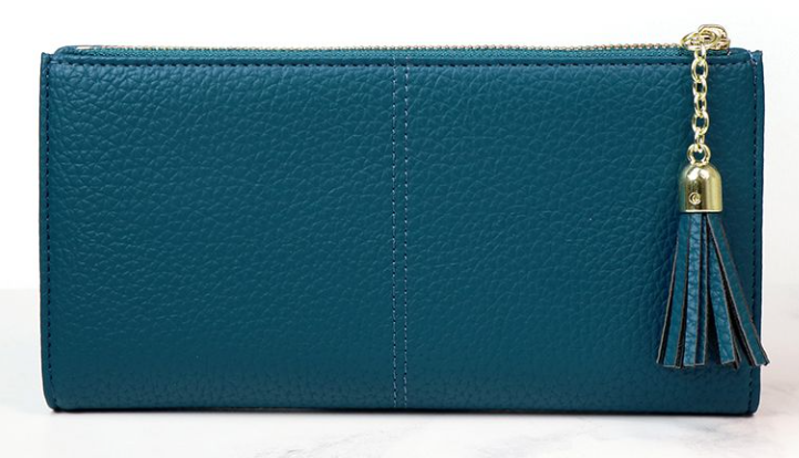 Faux leather purse in teal blue